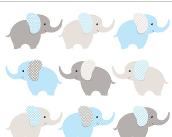Blue and Gray Baby Elephants Digital Clipart - 9 Pieces for Personal & Commercial Use - Baby Shower, Baby Boy, Baby Animal INSTANT DOWNLOAD