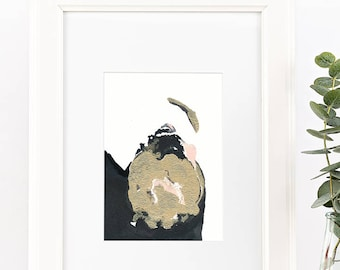 "gold & black abstract painting by Jules Tillman. 5""x7"" small original art. gold, black, white, pink art. Modern, minimal watercolor wall art"