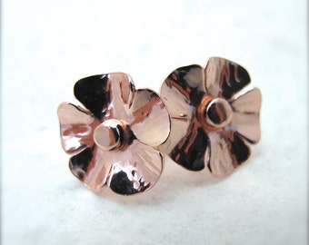 14k Rose Gold Wild Poppy Studs - Hand-Forged Solid 14kt Red Gold Flower Earrings