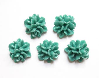 5 flowers in mint green 18 mm resin cabochons