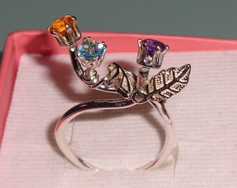 Multi Gemstone Sterling Silver Ring Mexican Fire Opal Amethyst Apatite Faceted Gems