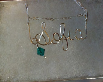 SOFIA  or ANY Wire Name in your choice of metals teen gift tween gift personalized gift unique gift wire name jewelry