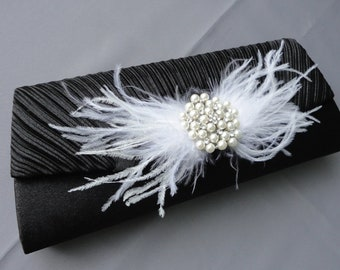 Wedding Formal Black Evening Clutch Adorned With Feathers And A Rhinestone Brooch
