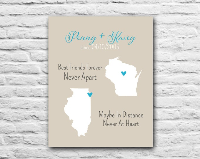 Best Friend Gift, Long Distance Best Friend, Military Personalized Print Custom Gift Family, Mom, Dad, Sister, Daughter, Best Friend Canvas
