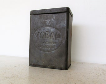 1910 Antique Yuban Coffee Tin Arbuckle Brothers Guest Coffee Square Canister