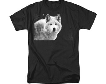 White Wolf T-shirt, Native American Totem Animal, Southwestern Wildlife Design, Woodland Animal, Wearable Art, Unisex Clothing, Men Women