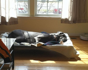 Extra Large Dog Bed 38x55 Custom Made PVC Pipe Dog Bed Cots With Middle Support, 15 Canvas OR 11 Mesh Colors, Dogs Up To 160 Pounds.