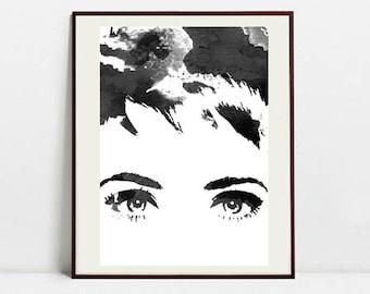 Watercolor Fashion Illustration - Black and White Art Print - Digital Download Art Print