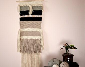 Gewebter Wandteppich, Wandornament, Boho Hausdeko, Textile Wanddekoration, Webteppich für Wand, Geschenk zum Einzug,handgewebt in Schottland