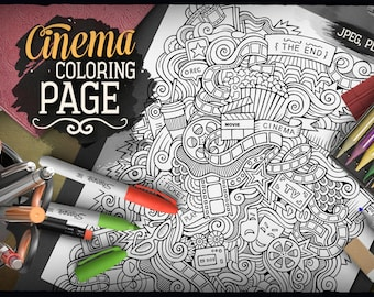 CINEMA DOODLE Digital Coloring Page, Adult Coloring, Film Doodles, Printable, Colouring sheet, Cartoon Illustration, Art Therapy, Download