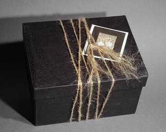 GIFT BOX OPTION - All Natural Papier Mache - Black - Botanical Gift Card - Natural Hemp Cord