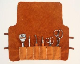 Small Tool Roll - Saddle Tan Brown Leather