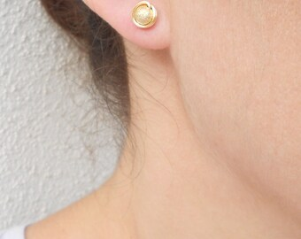 Small gold stud earrings, Wire wrapped stud earrings