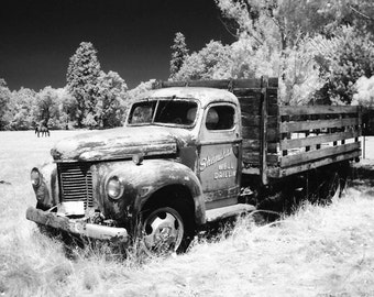 Infrared Photograph, Truck art, Flatbed, Abandoned