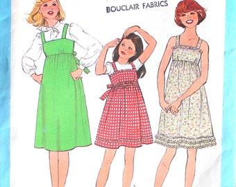 UNCUT Girls Dress or Jumper Vintage Sewing Pattern Size 7or 8 Breast 26 or 27