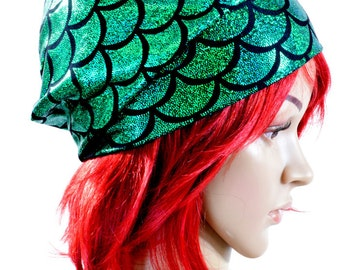 Emerald Green Mermaid or Dragon Scale Beanie Hat Stretchy Rave Festival Cap  -150981