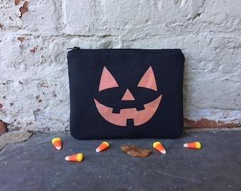 Jack o lantern Zip Pouch, Halloween Pouch, Pumpkin Zip Pouch