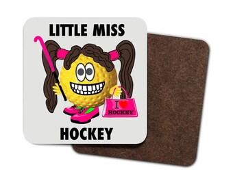 4 x Little Miss Hockey Drinks Coasters! Cool Field Hockey Gifts. Field Hockey/Hockey Humour/Hockey Ball, Hockey Slogan, Hockey Ball