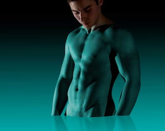 Dressing a Super Hero Gay Art Male Art Nude Photo Print by Michael Taggart Photography blue aqua turquoise strong muscle muscular abs