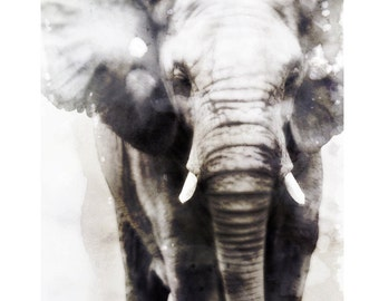 """Elephant Watercolor Painting, 8X10"""" and 11X14"""" Instant Download, Ptintable, Animal Painting, Animal Art, Animal Print"""