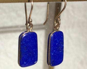 14k gold lapis cinch drop earrings on handmade earwires
