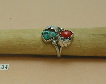 Coral & Turquoise, Sterling Silver Ring Handcrafted Size 6 1/2, Excellent color. Sharp Southwestern, Origin