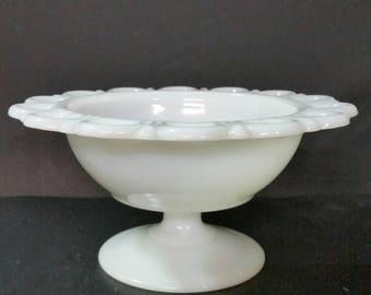 Vintage milk glass pedestal bowl.  Serving,  candle, nut.  Lace design edge.