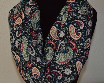 Infinity Scarf womens ladies NEW | gift for her | fashion accessory | loop scarf | paisley scarf | black scarf | women's gift | crepe scarf