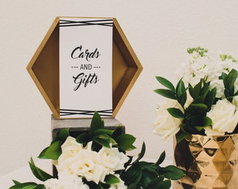 PRINTABLE Modern Wedding Cards and Gifts Sign 4x6 -  Digital Files Customized Instant download