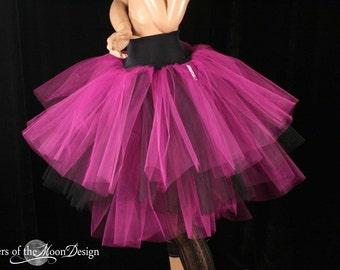 Adult tutu skirt Three Layer Petticoat fuchsia black halloween bridal carnival alternitive wedding - You Choose Size -- Sisters of the Moon