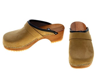 Velour Leather Clogs