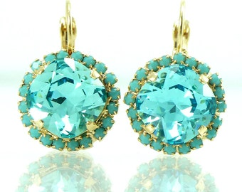 Christmas Special ~ Aqua Turquoise Crystal Dangle Earrings, Turquoise Drop Earrings, Crystal Earrings, Gold Earrings, Gift For Her, Womans .