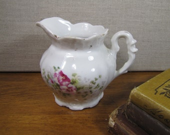 Porcelain Creamer - Pink and White Flowers - Scroll Handle - Gold Accent