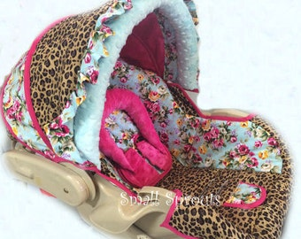 Cheetah/Shabby Chica Roses Infant Car Seat Cover 5 Piece set