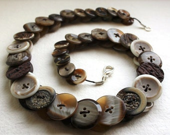 Coffee and Cream Button Necklace Button Necklace Button Jewellery Button Jewelry UK Handmade Free UK Shipping