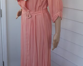 Vintage 30s Dress Pink Salmon 1930s Antique L XL