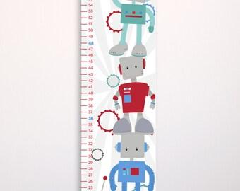 Kids Robot Growth Chart, Kids Growth Chart, Kids Robot Decor, Robot Nursery Decor, Personalized Canvas Growth Chart, Robot Growth Ruler