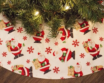Christmas Tree Skirt- Santa Claus-Snow-Snowflake-white-Red-Holiday Decoration-Christmas Tree-Christmas Tree