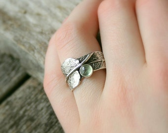 Sage Green...Sage Leaf Ring with Prehnite....Engagement Ring Wedding Band Promise Ring