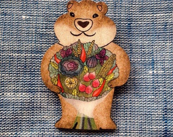 Groundhog day,groundhog pin, groundhog jewelry, gift for the gardener, best for garden lover, stocking filler
