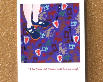 LUCY queen lucy the valiant.  blank narnia greeting card with quote.