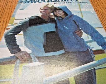 Vintage Patterns Sweatshirts, Leather, Hoodies, Knit, Crochet, Leaflet, 1977, Tennis Coverup, Hip, Hippie, 70's, Sweaters,Tops