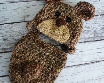 Brown Bear Hat and Cover Set - Baby Grizzley Bear Hat - Halloween Costume - Baby Bear with cover or pants - by JoJosBootique