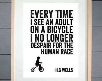H.G Wells Human Race Cycling Typography Print - Various Sizes