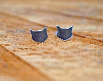 Cat Stud Earrings, Handmade Silver, Cat lover, Animal earrings, Kitten, Cat head studs, Cute earrings,  Animal studs, Minimalist, pet studs