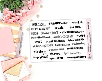 Hashtag Quotes | Planner Stickers, Functional Planner Stickers, Stickers For Planners, Hashtag Stickers