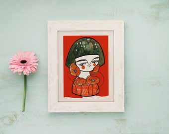 Red poppies postcard girl flower portrait
