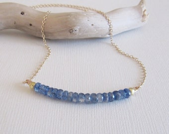 Blue Kyanite Necklace, Kyanite and Gold, Delicate Necklace, Simple, Beaded Necklace, Blue Jewelry,14kt Gold Filled Necklace, Chakra Jewelry
