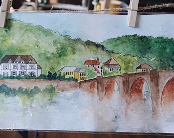 Watercolor Germany Landscape Painting