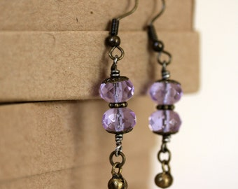 Light Purple Lilac Czech Glass Antiqued Brass Danging Earrings